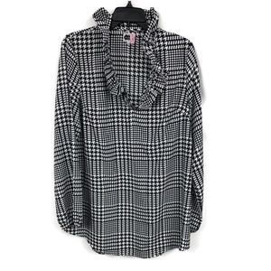 MUD PIE HOUNDSTOOTH POPOVER BLOUSE L